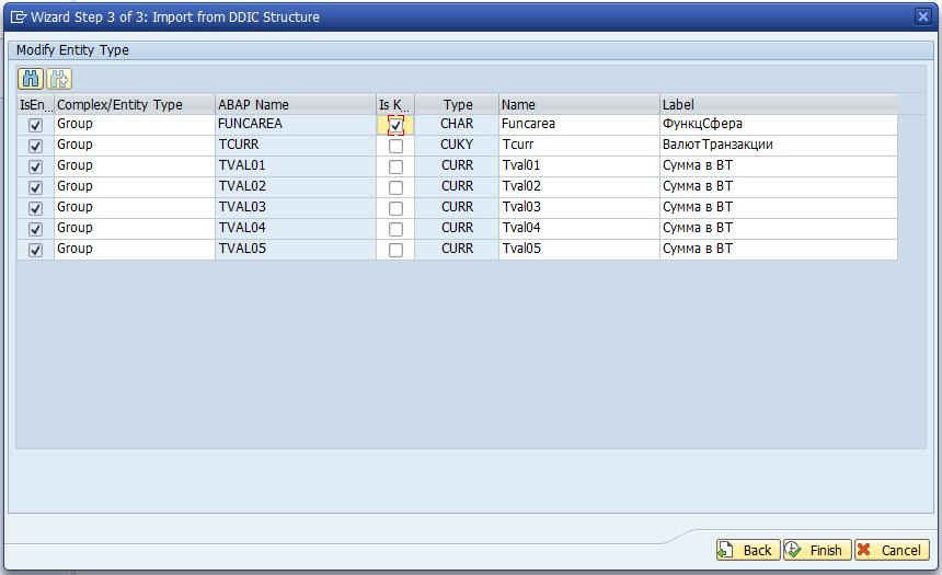 Modify Entity Type DDIC структура ABAP