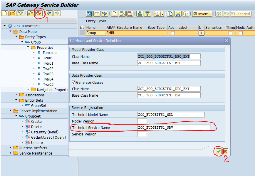 Регистрация сервиса oData SEGW