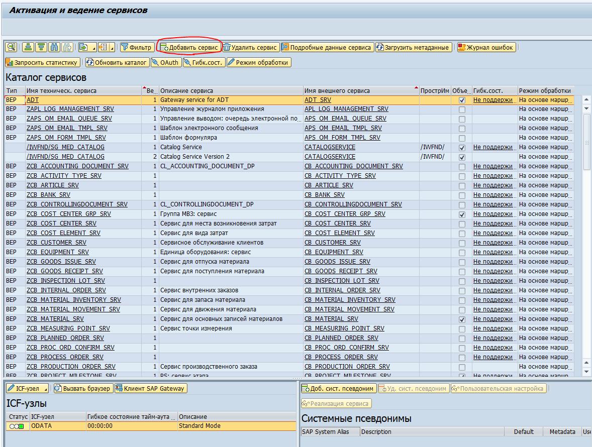 Активация и ведение сервисов oData /IWFND/MAINT_SERVICE